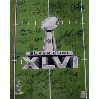 New York Giants Team Signed 16x20 Super Bowl XLVI 2011 Trophy Champions Photo #2
