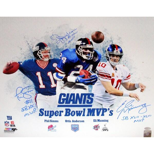 New York Giants SB MVP 16x20 Unframe Collage Signed (Eli Manning, Phil Simms, OJ Anderson) w/ SB MVP's Insc.