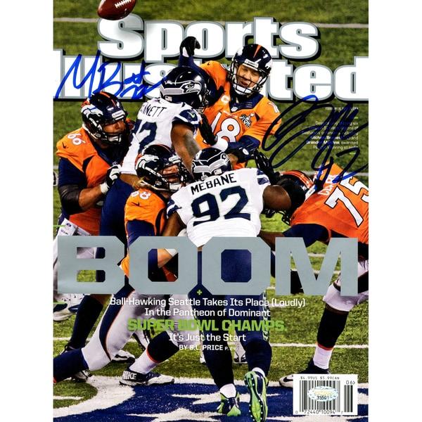 Michael Bennett & Brandon Mebane Dual Signed Sports Illustrated Magazines ( Mill Creek Holo)