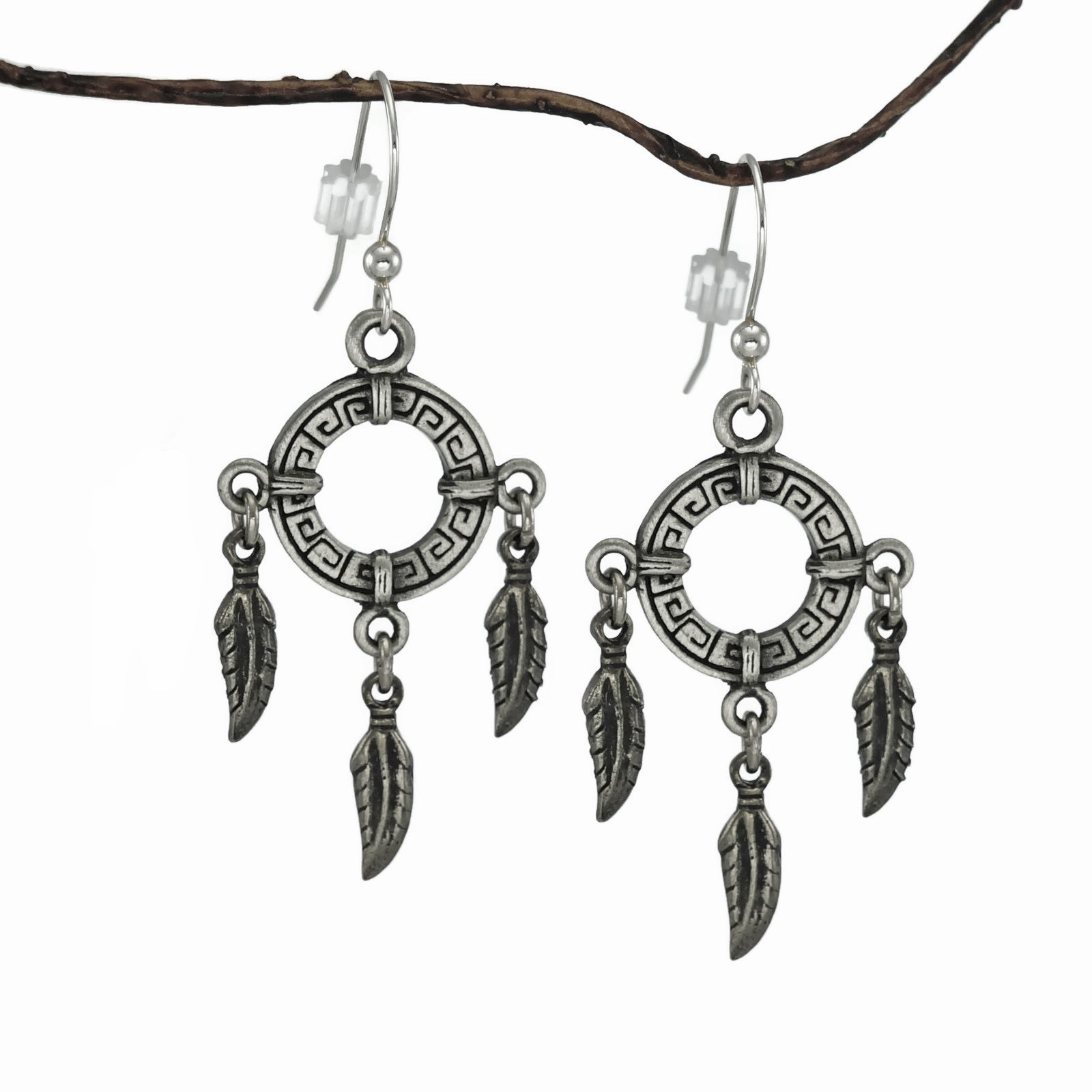 Jewelry by Dawn Circle with Feathers Pewter Dangle Earrin...