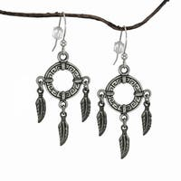 Handmade Jewelry by Dawn Circle with Feathers Pewter Dangle Earrings (USA) - Silver