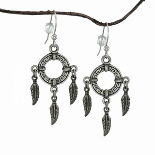 Handmade Jewelry by Dawn Circle with Feathers Pewter Dangle Earrings - Silver