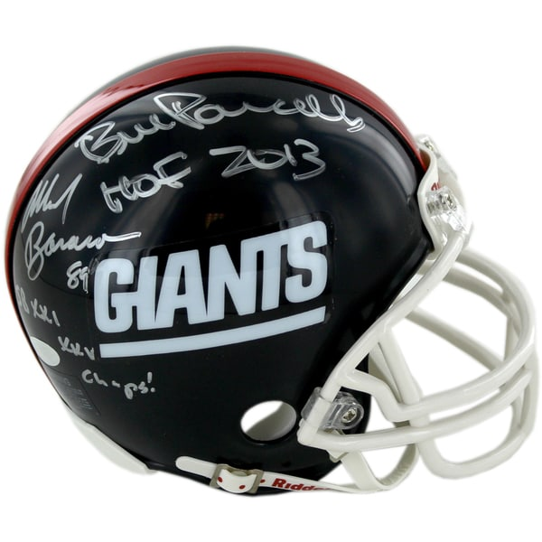 Mark Bavaro/Bill Parcells Dual Signed and Inscribed Throwback Giants Mini Helmet w/ Parcells HOF Insc, Bavaro S.B Insc.