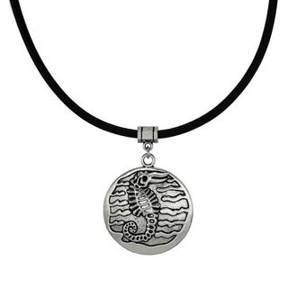 Jewelry by Dawn Unisex Pewter Seahorse Greek Leather Cord Necklace - Silver