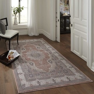 Machine Made Antiquity Dynamic Medallion Rayon from Bamboo Rug (6'7 x 9'10)