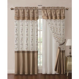 VCNY Daphne Curtain Panel with Attached Double Valance and Backing