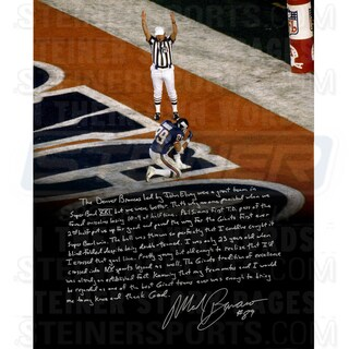 Mark Bavaro Signed Kneeling 16x20 Story Photo (Signed in Silver)