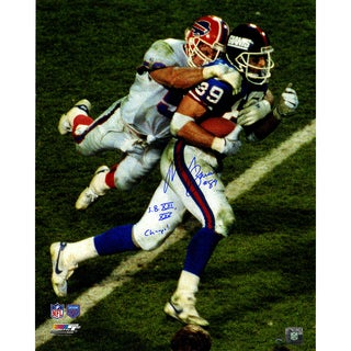 "Mark Bavaro Signed Dragging Defender 16x20 Photo w/ ""SB XXI, XXV Champs"" Insc"
