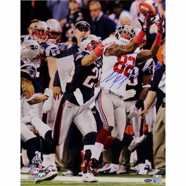 Mario Manningham Super Bowl XLVI Catch Horizontal 8x10 Photo Signed