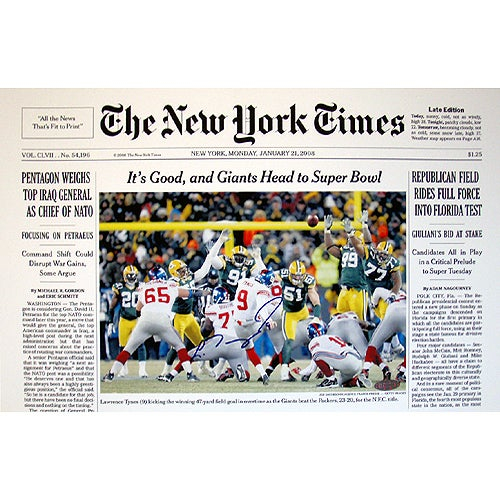 Lawrence Tynes New York Times Cover 1-21-08 11x17 Photo