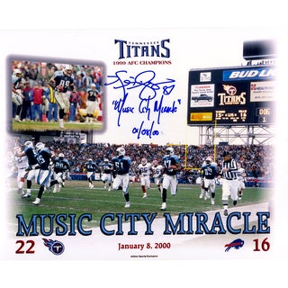 """Kevin Dyson Signed Tennessee Titans Music City Miracle 8x10 Photo w/ """"Music City Miracle , 01/08/00""""Insc"""