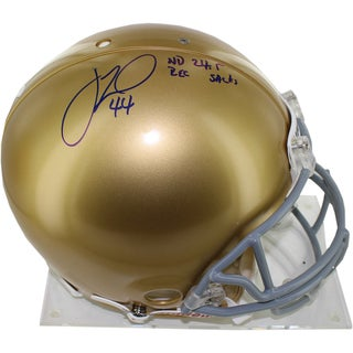Justin Tuck Notre Dame Full Size Helmet w/ ND 24.5 Rec. Sack's