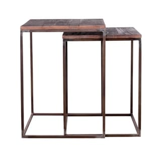 Handmade Teak and Iron Nesting Tables (India) - 23 x 17 x 17 inches