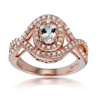 Glitzy Rocks 18k Rose Gold over Silver Morganite and White Topaz Oval Twist Ring