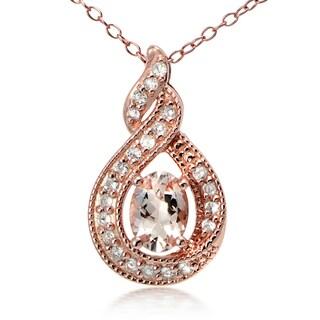 Glitzy Rocks 18k Rose Gold over Silver Morganite and White Topaz Twirl Necklace