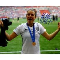 Kelley O'Hara Signed Team USA 2015 Women's World Cup Final Champions Trophy Celebration 8x10 Photo - Black