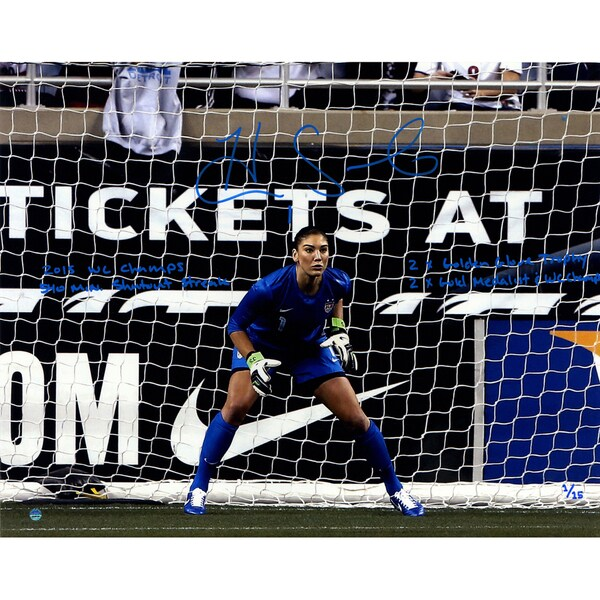 """Hope Solo Signed In Goal 16x20 Photo w/ """"2015 USA World Cup Champions"""" & Other Inscrip. (LE/15)"""