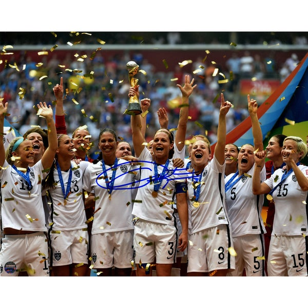Christie Rampone Signed Team USA 2015 Women's World Cup Final Champions Trophy Celebration 8x10 Photo