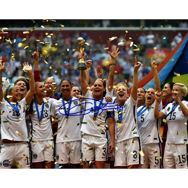 Christie Rampone Signed Team USA 2015 Women's World Cup Final Champions Trophy Celebration 8x10 Photo - Black