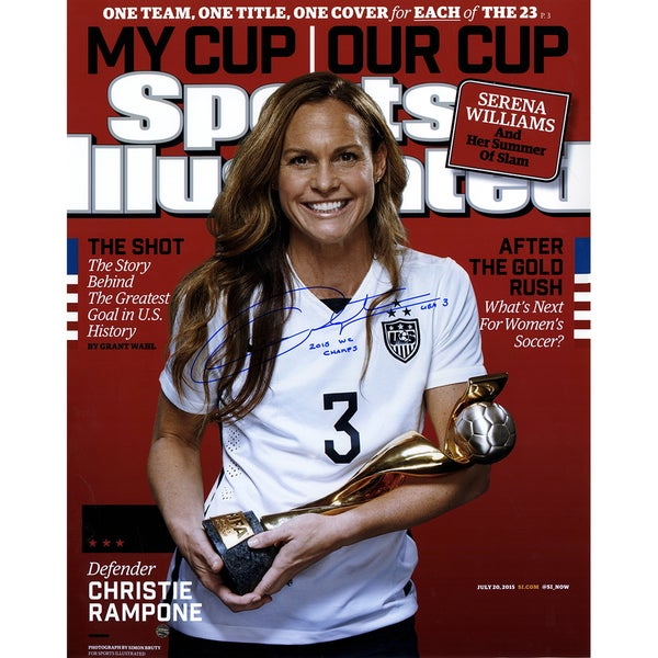 "Christie Rampone Signed 2015 World Cup Sports Illustrated Magazine 16x20 Photo w/ ""2015 WC Champs"" Insc"