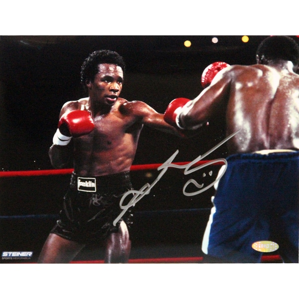 Sugar Ray Leonard Fight in Black Shorts vs Kevin Howard Signed 8x10 Photo