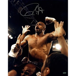 Roy Jones Jr. Signed Celebrating vs. Louis News 16x20 Vertical Photo