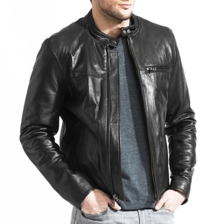 Men's Lambskin Leather Cafe Racer Jacket