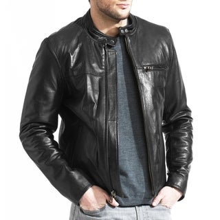 Tanners Avenue Men's Lambskin Leather Cafe Racer Jacket
