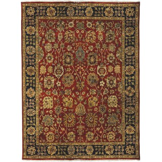 Bethany Rust/ Navy Traditional Hand-knotted Rug (12' x 15')