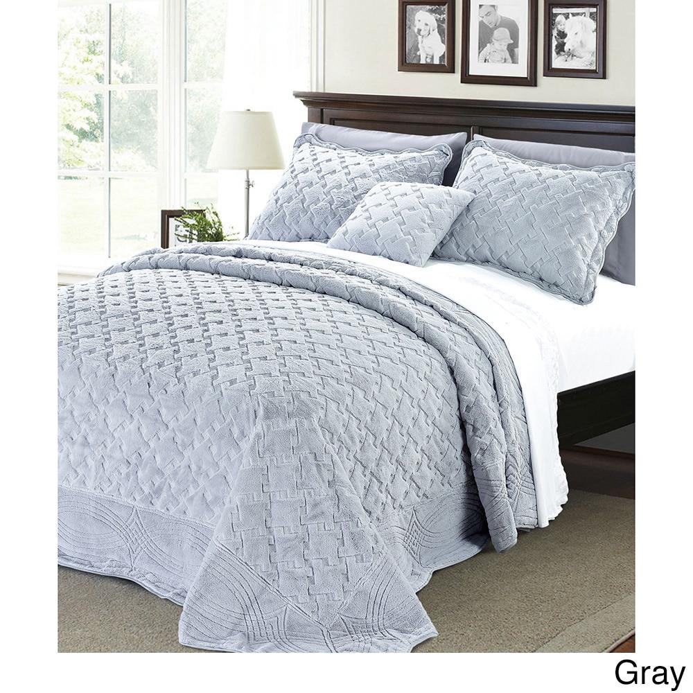 BNF Serenta Faux Fur Quilted Tatami 4-piece Bedspread Set...
