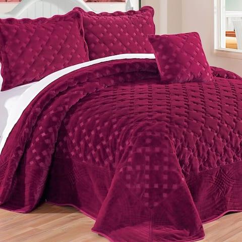 Serenta Faux Fur Quilted Tatami 4-piece Bedspread Set