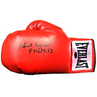 Evander Holyfield Signed Red Boxing Glove (White Everlast Patch)