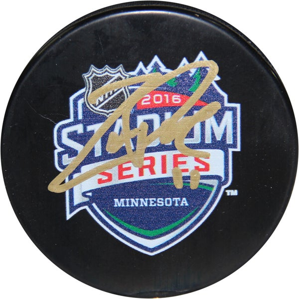 Zach Parise Signed 2016 Stadium Series Minnesota Logo Official Puck
