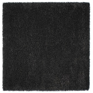 Somette Loretto Collection Charcoal Solid Shag Area Rug (6.7' x 6.7')