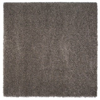 Somette Duckwater Collection Dark Grey Solid Shag Area Rug (6.7' x 6.7')