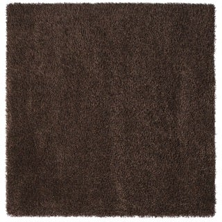 Somette Duckwater Collection Chocolate Solid Shag Area Rug (6.7' x 6.7')