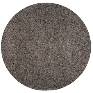Somette Duckwater Collection Dark Grey Solid Shag Area Rug (5.3' x 5.3')