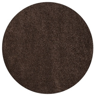 Somette Duckwater Collection Chocolate Solid Shag Area Rug (5.3' x 5.3')