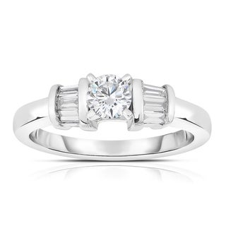 Eloquence 14k White Gold 1/2ct TDW Diamond Side-Stone Engagement Ring (J-K, I1-I2)
