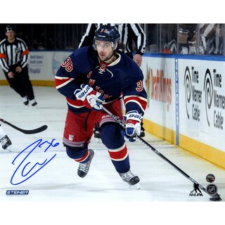 Mats Zuccarello Signed skates with the puck in Heritage Jersey 8x10