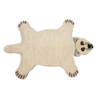 Polar Bear Skin Shape Wool Rug (2' x 3')