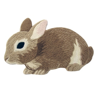 Cute Bunny Rabbit Wool Rug (2' x 3')