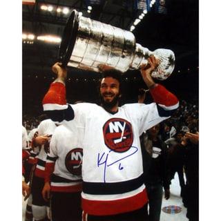 Ken Morrow w/ Stanley Cup Overhead 16x20 Photograph