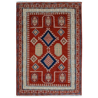 Multicolored Wool Hand-knotted Kazak Rug (5'7 x 7'10)
