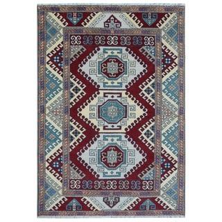 Burgundy Wool Hand-knotted Kazak Rug (5'7 x 7'10)