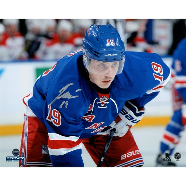 Jesper Fast Signed Looking On During Face-Off 8x10 Photo