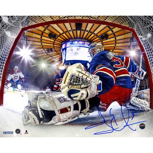 Henrik Lundqvist Signed Glove Save In Net View 8x10 Metallic Photo