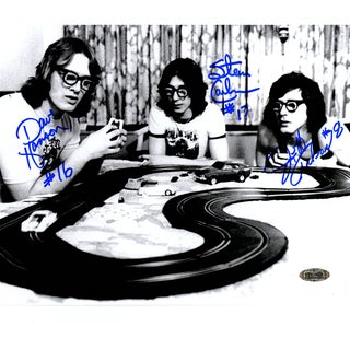 Hanson Brothers Charleston ChiefsTriple Signed Playing With Toy Cars 8x10 Photo