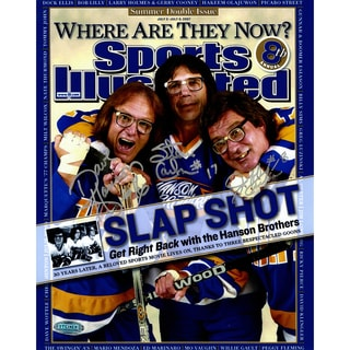 Hanson Brothers Charleston Chiefs Triple Signed Sports Illustrated Cover 8x10 Photo