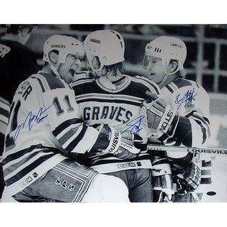 Graves Leetch & Messier Triple Signed B&W Celebration w/Captain Insc.16x20 Photo